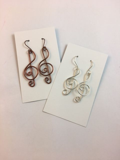 Karen Meador, Ph.D.'s Treble Clef Earrings - , Contemporary Wire Jewelry, Loops, Wire Loop, Wrapped Wire Loop, Spirals, Wire Spiral, Spiral Wire Wrap, treble clef earrings