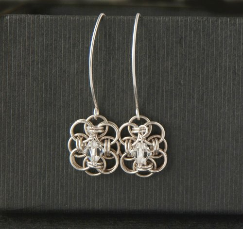 Sterling silver chain maille bridal earrings