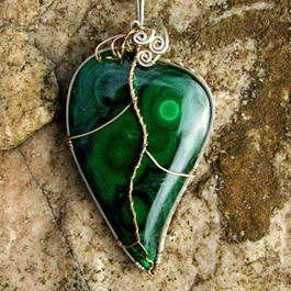 Malachite Leaf Pendant