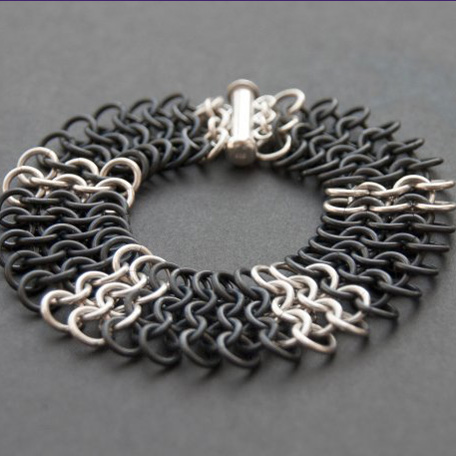 Black Niobium and Sterling Chain Maille Bracelet