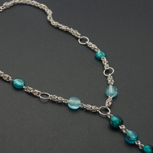 Byzantine Chain Maille Long Beaded Necklace