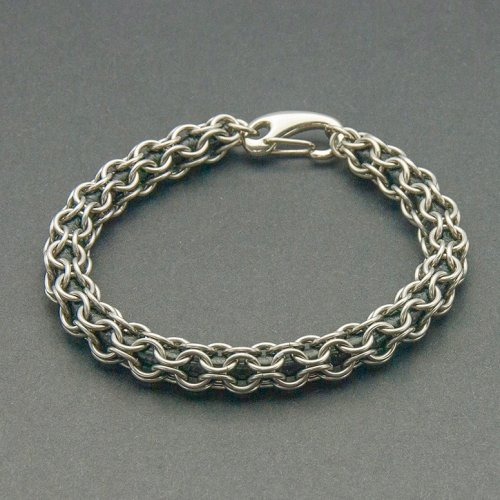 Stainless Steel Round Maille Leather Bracelet