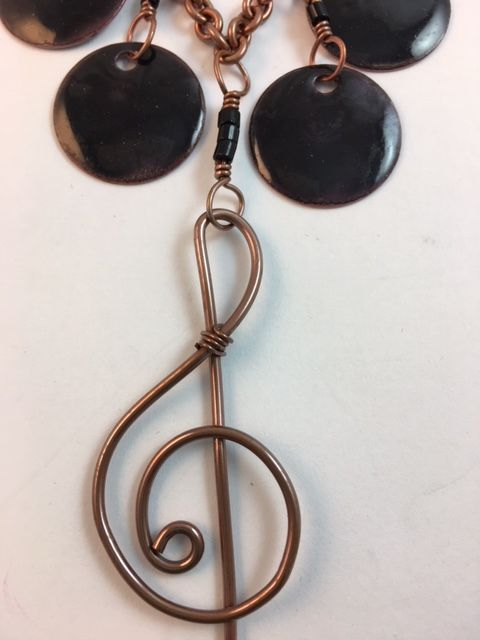 Karen Meador, Ph.D.'s Treble Clef Necklace - , Contemporary Wire Jewelry, Loops, Wire Loop, Wrapped Wire Loop, Spirals, Wire Spiral, Spiral Wire Wrap, treble clef necklace