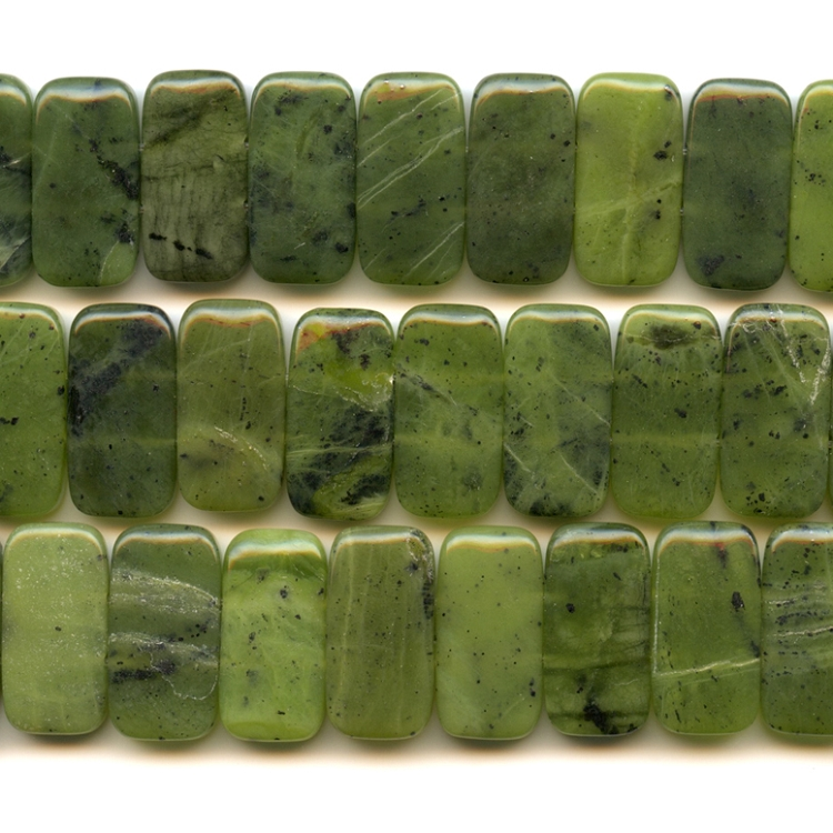 Jade 10x20mm Rectangle Double Drilled Beads - 8 Inch Strand