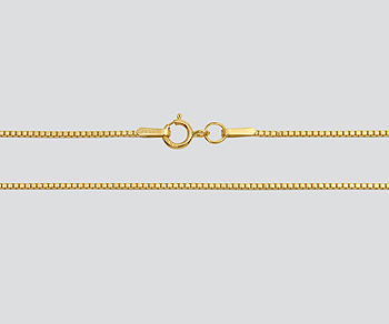 Gold Filled Box Chain 1.0mm - 24 inches - Pack of 1