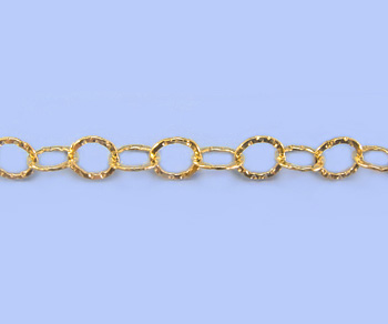 Gold Filled Chain Round w/ Dia. Cut Pattern 5.3mm - 10 Feet
