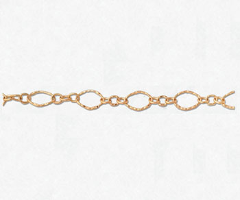 Gold Filled Hammered Flat Oval Long & Short Chain 11.6x6.8mm - 10 Feet