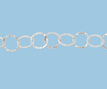 Sterling Silver  Chain  Flat with Diamonds Pattern  7x8 mm - 10 Feet