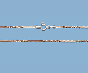 Sterling Silver Alternate Cross Chain 2 Tone (Rose / Silver) 1.4mm 18 inch - Pack of 1