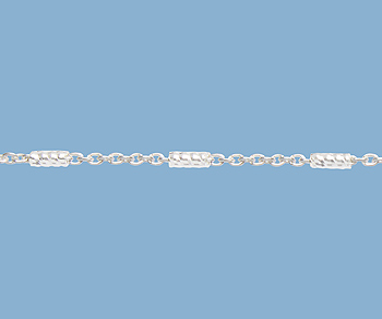 Sterling Silver Bar (1.3x3.5mm) & Cable Chain 1mm - 10 Feet