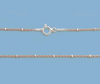 Sterling Silver Chain 2 Tone (Rose / Silver) 1x1.5mm 20 inch - Pack of 1
