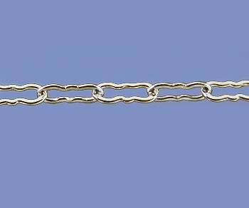 Sterling Silver Chain Krinkle Small 1.36x3.8mm - 10 Feet