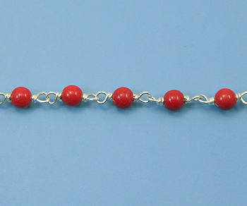 Sterling Silver Chain w/ Coral 3 mm - 5 Feet