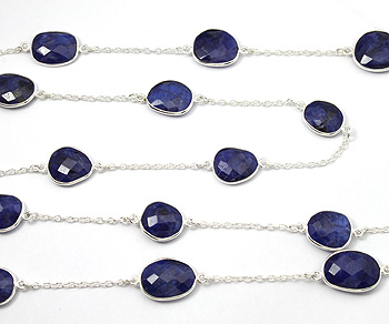 Sterling Silver Chain w/Bezelled Dyed Sapphire 10.9x13.2 to 12.8x17.4mm - 1 Foot