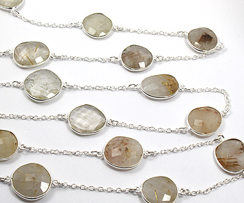 Sterling Silver Chain w/Bezelled Golden Rutilated Quartz (12.5x13.3 to 17.5x18.5mm) - 1 Foot