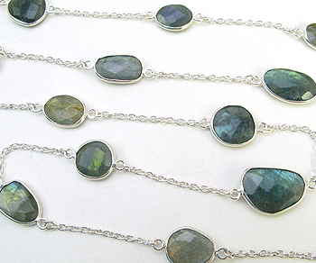 Sterling Silver Chain w/Bezelled Labradorite 8.3x9.5 to 12.6x17.4mm - 1 Foot