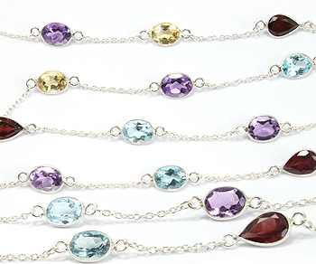 Sterling Silver Chain w/Bezelled Multi Semi Precious Stones 6.9x8.5 to 6.6x9.5mm - 1 Foot