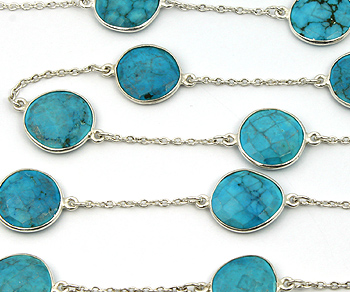Sterling Silver Chain w/Bezelled Turquoise 12 to 15mm - 1 Foot