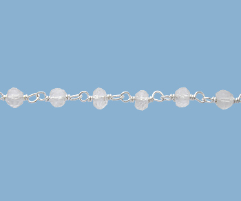 Sterling Silver Chain with Clear Quartz 3 - 4mm - 5 Feet