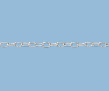 Sterling Silver Corrugated Oval Cable Chain 6x3.7mm - 10 Feet