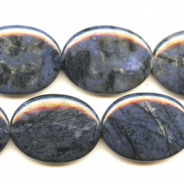 Dumortierite 30x40mm Oval Beads - 8 Inch Strand