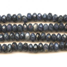 Dumorterite 8mm Faceted Rondelle Beads - 8 Inch Strand