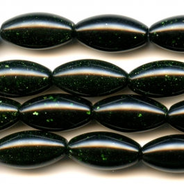 Green Goldstone 10x20mm Rice Beads - 8 Inch Strand