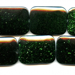 Green Goldstone 30x40mm Rectangle Beads - 8 Inch Strand