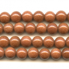 Goldstone 8mm Round Beads - 8 Inch Strand