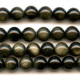 Golden Obsidian 10mm Round Beads - 8 Inch Strand