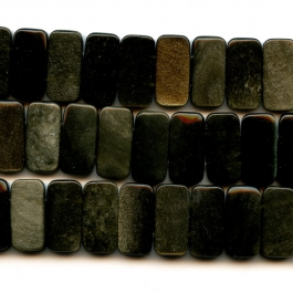 Golden Obsidian 10x20mm Double Drilled Beads - 8 Inch Strand