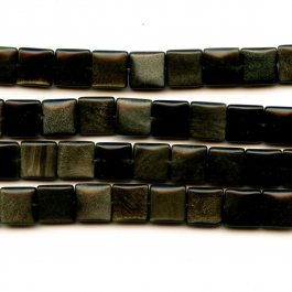 Golden Obsidian 12mm Square Beads - 8 Inch Strand