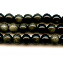 Golden Obsidian 8mm Round Beads - 8 Inch Strand
