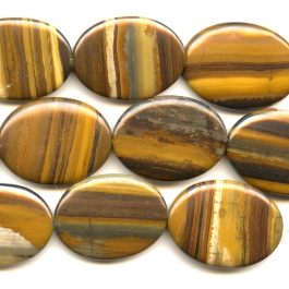 Iron Zebra Jasper 30x40mm Oval Beads - 8 Inch Strand