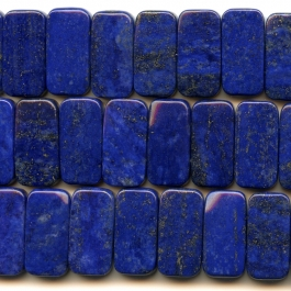 Lapis 10x20mm Double Drilled Rectangle Beads - 8 Inch Strand