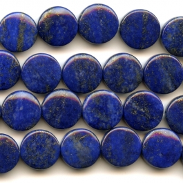 Lapis 12mm Coin Beads - 8 Inch Strand