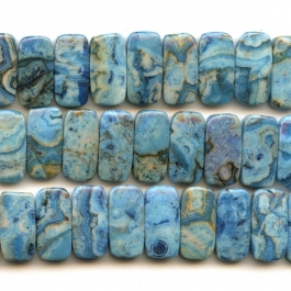 Blue Crazy Lace Agate 10x20mm Double Drilled Beads - 8 Inch Strand