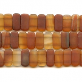 Matte Carnelian 10x20mm Double Drilled Beads - 8 Inch Strand
