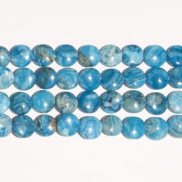 Blue Crazy Lace Agate 12mm Coin Beads - 8 Inch Strand