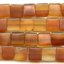 Matte Carnelian 12mm Square Beads - 8 Inch Strand