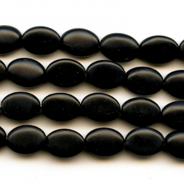 Matte Onyx 10x14mm Oval Beads - 8 Inch Strand