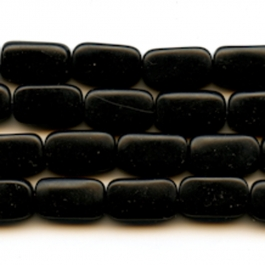 Matte Onyx 8x14mm Rectangle Beads - 8 Inch Strand