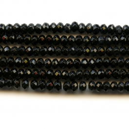 Onyx 4mm Rondelle Faceted Beads - 8 Inch Strand