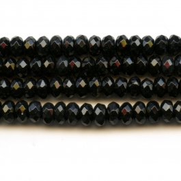 Onyx 6mm Faceted Rondelle Beads - 8 Inch Strand