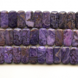 Purple Crazy Lace Agate 10x20mm Double Drilled Beads - 8 Inch Strand