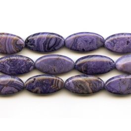 Purple Crazy Lace Agate 15x30mm Oval Beads - 8 Inch Strand