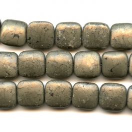 Pyrite 12mm Square Beads - 8 Inch Strand