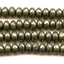 Pyrite 8mm Faceted Rondelle Beads - 8 Inch Strand