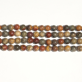 Red Creek Jasper 10mm Round Beads - 8 Inch Strand