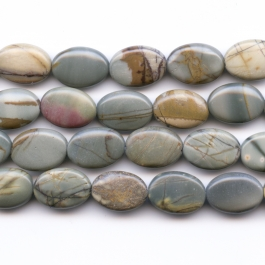 Red Creek Jasper 10x14mm Oval Beads - 8 Inch Strand